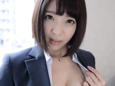 「あッ・・あったかぃ・・」AV志願してきたGカップOLの膣奥にザーメン注入!