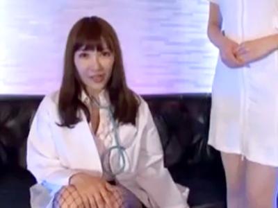 「こんなに出しちゃって‥」痴女ナース2人が患者チンポのザーメン吸い上げ!
