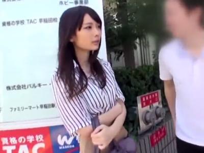 早稲田で待ちぼうけしてたJDをナンパして素股からの中出しパコ