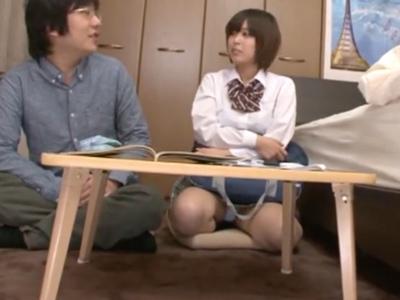 巨乳JKがキモヲタ家庭教師を誘惑→生で突かれて大量ザーメン顔射される