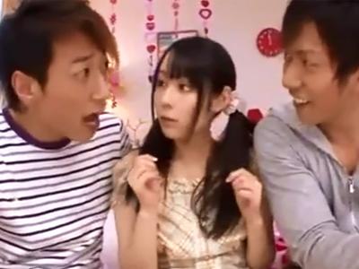 ツインテの美少女がデカマラ男二人との3Pガチハメであっけなくアヘ顔アクメ